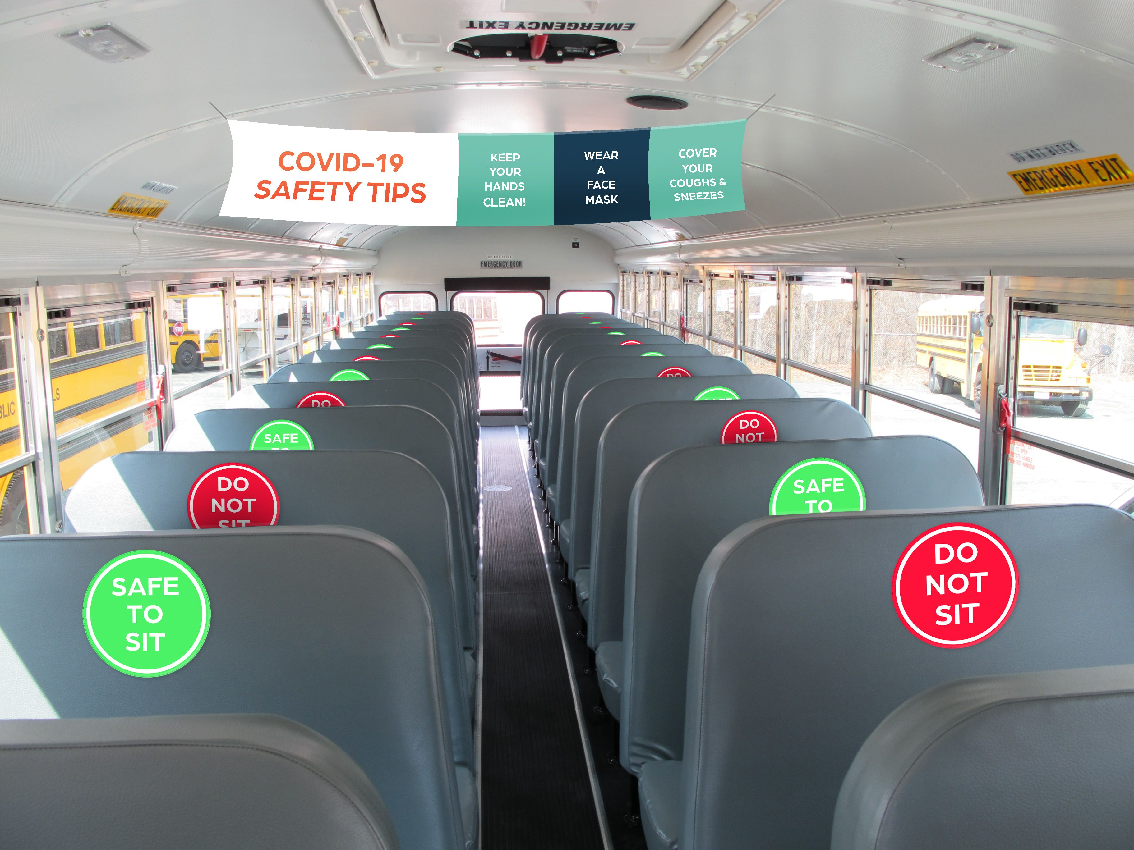 School Bus Interior with Social Distancing Graphics and Hygiene Signs