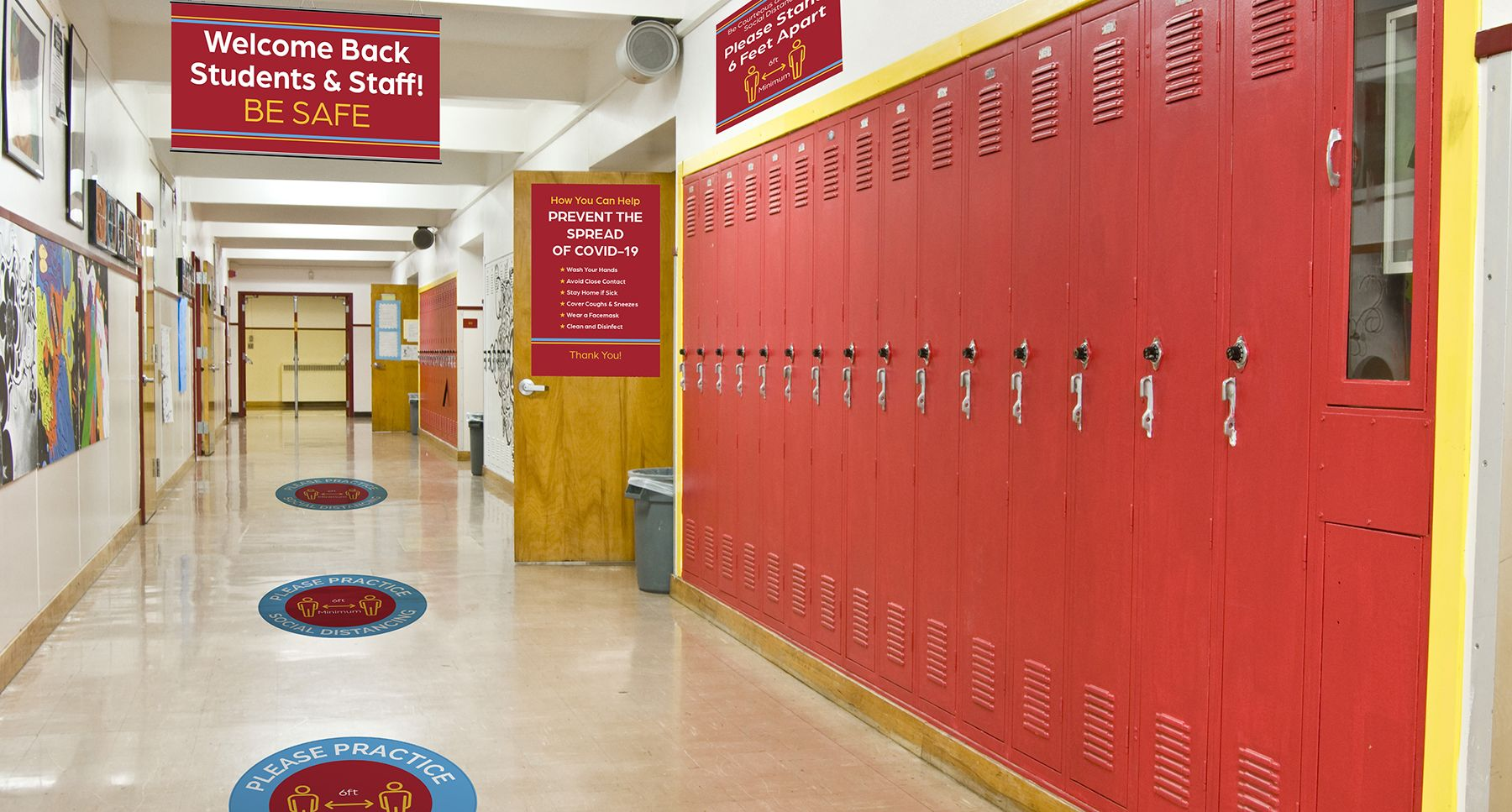 School Hallway with Reopening Signs and Graphics