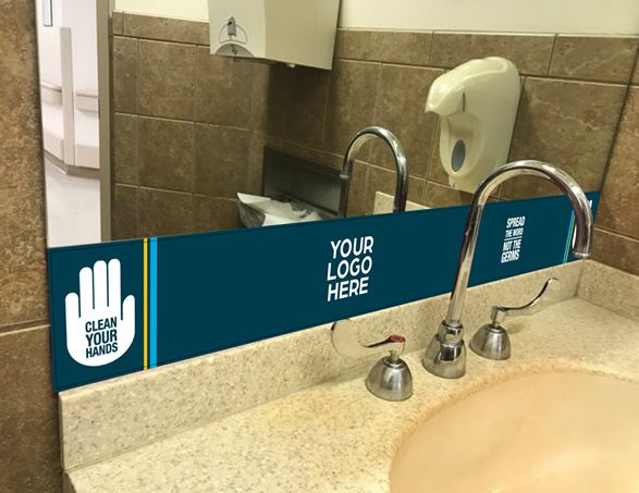 Clean Your Hands Restroom Mirror Graphic
